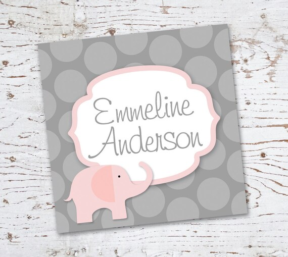 Pink and Grey Elephant Gift Tags - for birthday or baby shower
