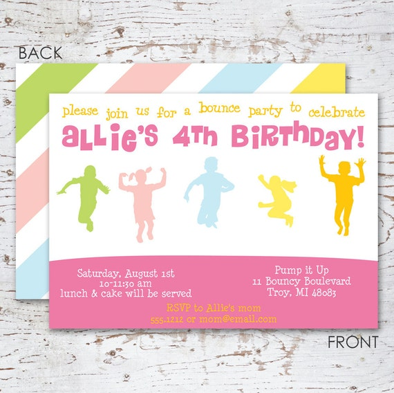 Bounce House Birthday Party Invitation for girls – Pump It Up Party Invitations