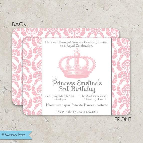 Princess Dress Up Party Birthday Invitations