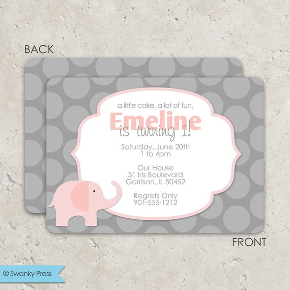 RESERVED: Pink and Gray Elephant Invitations - birthday or baby shower