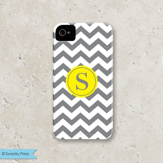 """iPhone 5 - personalized custom iPhone cell phone case - """"grey and yellow chevron dot"""""""