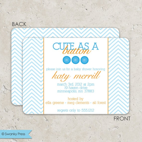 Sip and See Baby Shower Invitations - Cute As a Button