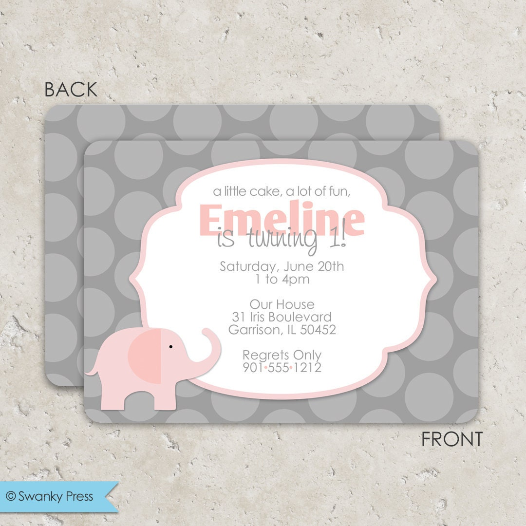 pink and gray elephant invitations birthday or baby shower