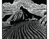 Entering Castrojeriz - original linoleum block print
