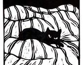 Catnap - original linoleum block print