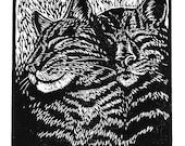 Brothers - original linoleum block print