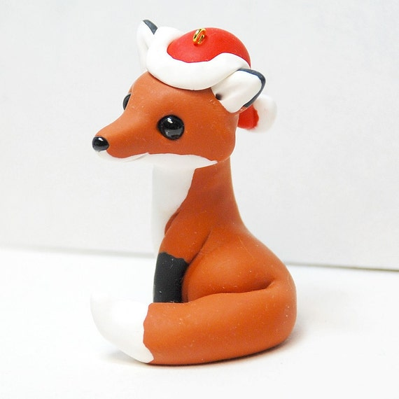 Fox with Santa Hat Ornament by Shelly Schwartz