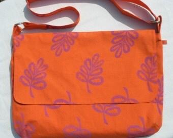 Orange Hand Printed Messenger Bag, Bright spring color, Adjustable strap, Free Ship US