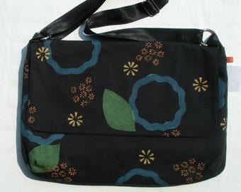 Black hand printed messenger bag