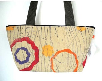 Purse, Natural Woven Cotton Canvas with Modern Print