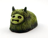 Green Clay Monster Sculpture, Hairy Mossy Beast Painted Sculpture