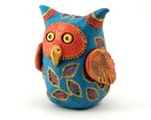Polymer Clay Owl Figurine Coral Gold Turquoise