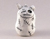 Ugly Clay Monster Misfit, White with Stitches, Polymer Clay Monster