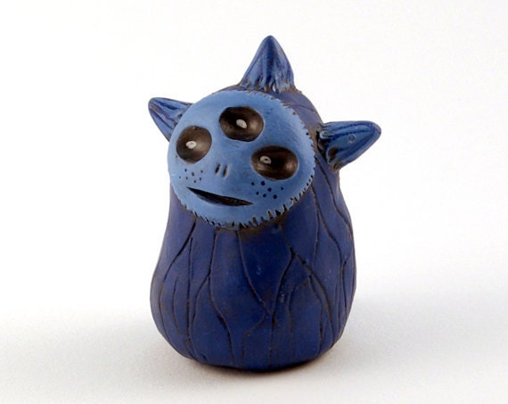 Polymer Clay Alien, Little Blue Alien, Three Eyes