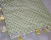 Light Green Minky Dot Security Blanket   Medium Size