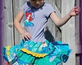Lil Peas Boutique Little Mermaid  Ariel Twirl Tee Dress 6m-4T