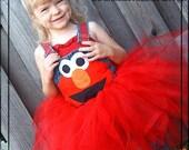 Lil Peas Boutique Elmo Birthday Overalls and Tutu Set 24m-6X