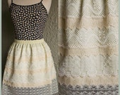 Dahlia - Cream Vintage Style 7 Layer Linen and Lace Floral Bohemian Skirt