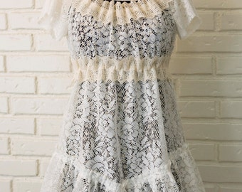Bohemian White and Cream Lace Mini Dress - Eco-Friendly, Made from Vintage & New Materials