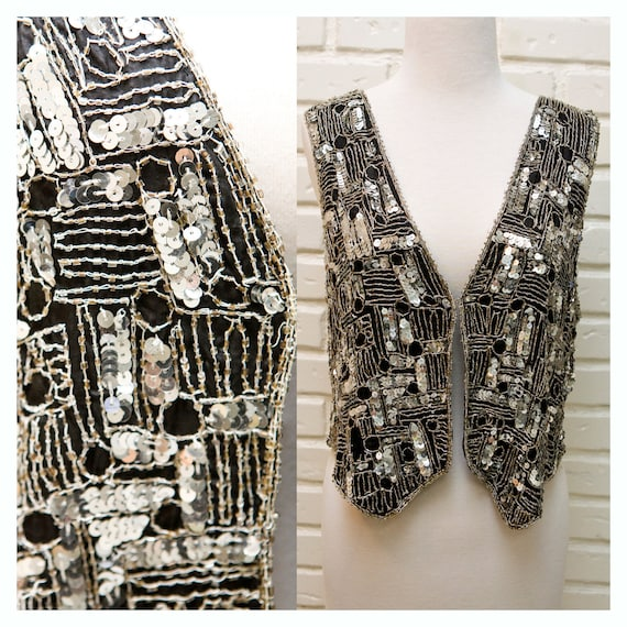 Silver and Black Silk Indian Beaded Embroidered Vest