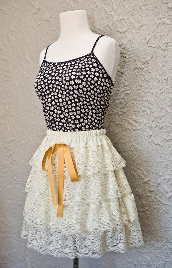 Sophia - Cream Vintage Style Linen & Lace 4 Layer Ruffled Skirt with Gold Grosgrain Bow