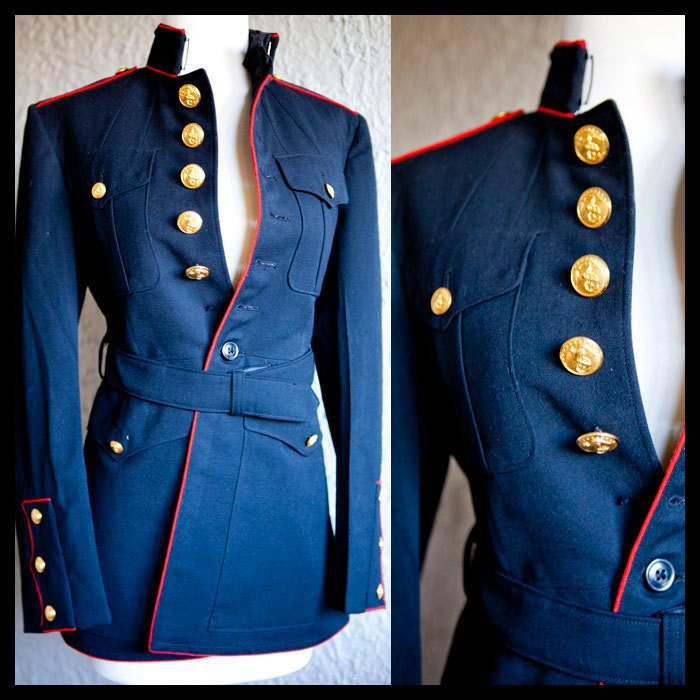 Vintage navy blue band military jacket coat fits small-medium