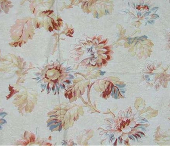 Beautiful Antique 19th C. French Fabric Floral Cretonne Cotton Textile Creme Blue Dahlias 1 yd.
