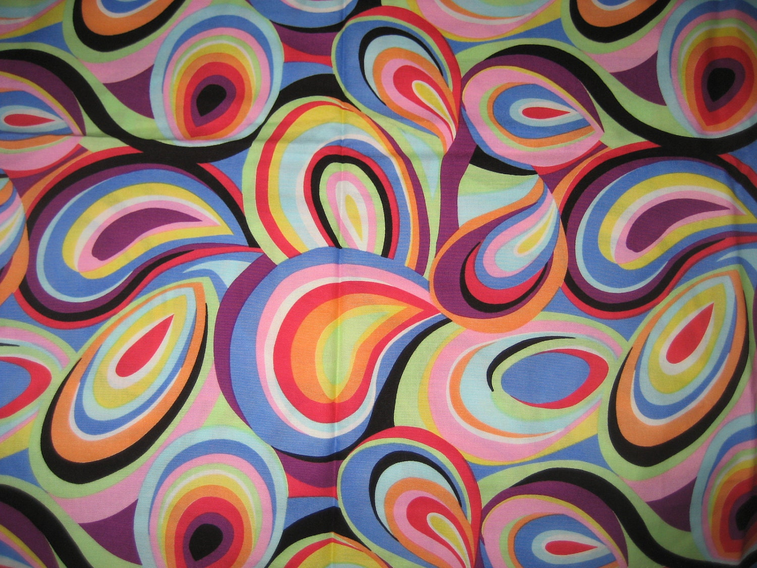 Fantastic Vintage 60 S 70 S Cotton Fabric Stylized