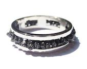 Black Diamond Ring 14k White Gold Engagement Wedding Band for Men and Women