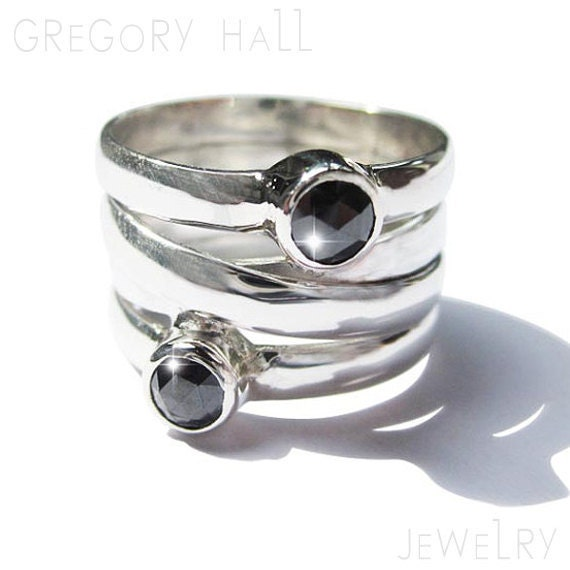 Black Diamond Ring Sterling Silver Jewelry Womens High Fashion