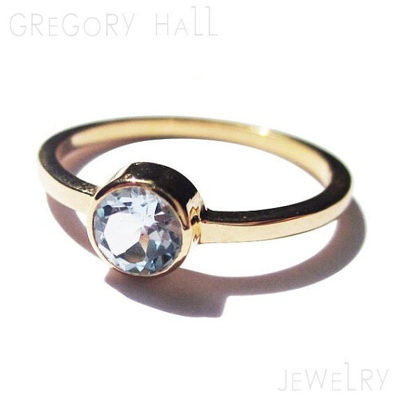 Items similar to Blue Topaz Ring 14k Yellow Gold Simple Engagement Rings on Etsy