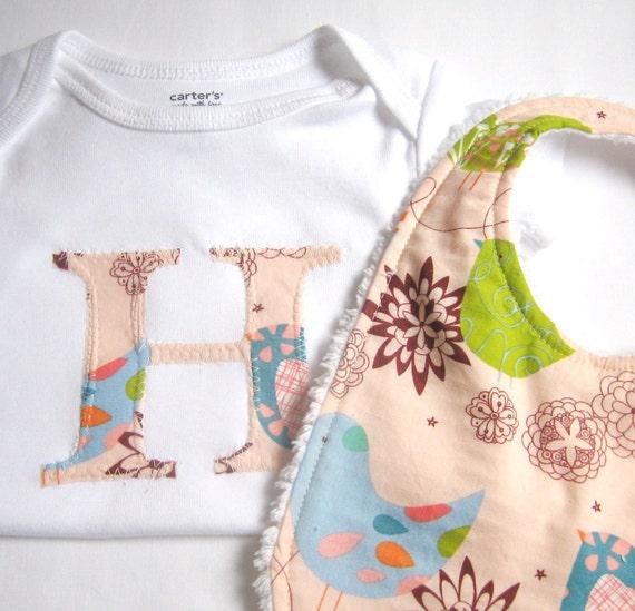 bird bodysuit bib baby girl gift set monogram custom letter