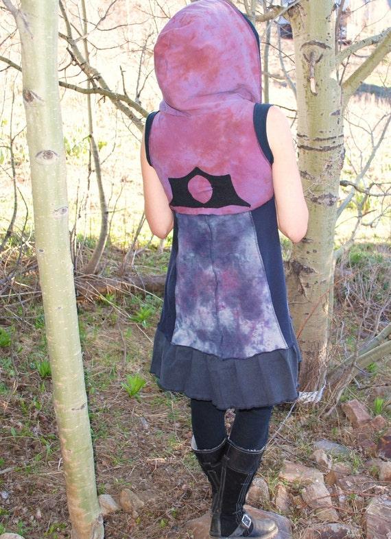 Patchwork Dress, SummeR Dress, PiXie Hoodie Dress, Hand Dyed FestiVaL Dress