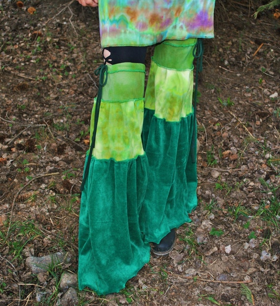 Ultra Flared Leg Warmers, Flared Leg Festival Apparel, hand dyed fabric and velvet, pixie apparel