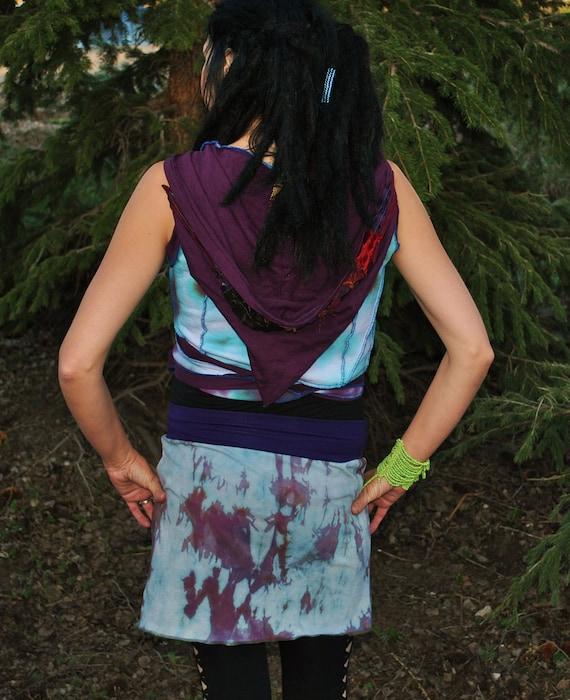 Hand DyeD Mini SkiRt, Pixie SkirT, OveR Skirt, HoopinG AppareL