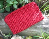 Reserved for TrueInspiration Red leaves hand knitted fabric OOAK clutch purse