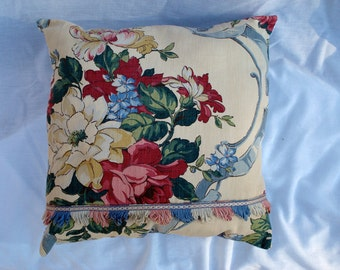 Vintage Barkcloth Pillow in Pink, Blue, Green with Old Roses, Vintage Trim