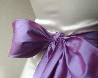 Agnes quality lavender pink dupioni silk obi / sash belt