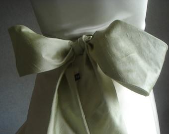 Agnes sage green quality dupioni silk obi / sash belt