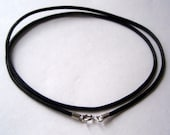 "18"" Leather choker/necklace, Natural black Leather with sterling silver ends hand made."
