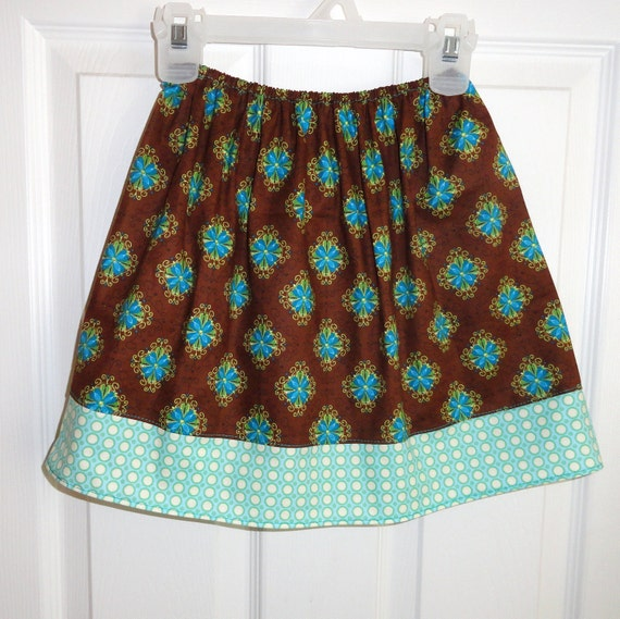 Girls Boutique Market Skirt COJ Christmas in July Sale in Brown and Teal Ready to Ship 4/5 SALE
