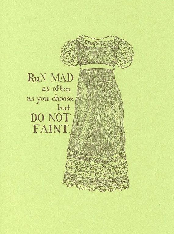 Jane Austen print - Do Not Faint - Regency fashion illustration, Gocco