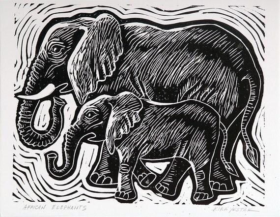 Afrikanische Elefanten Linolschnitt Drucken