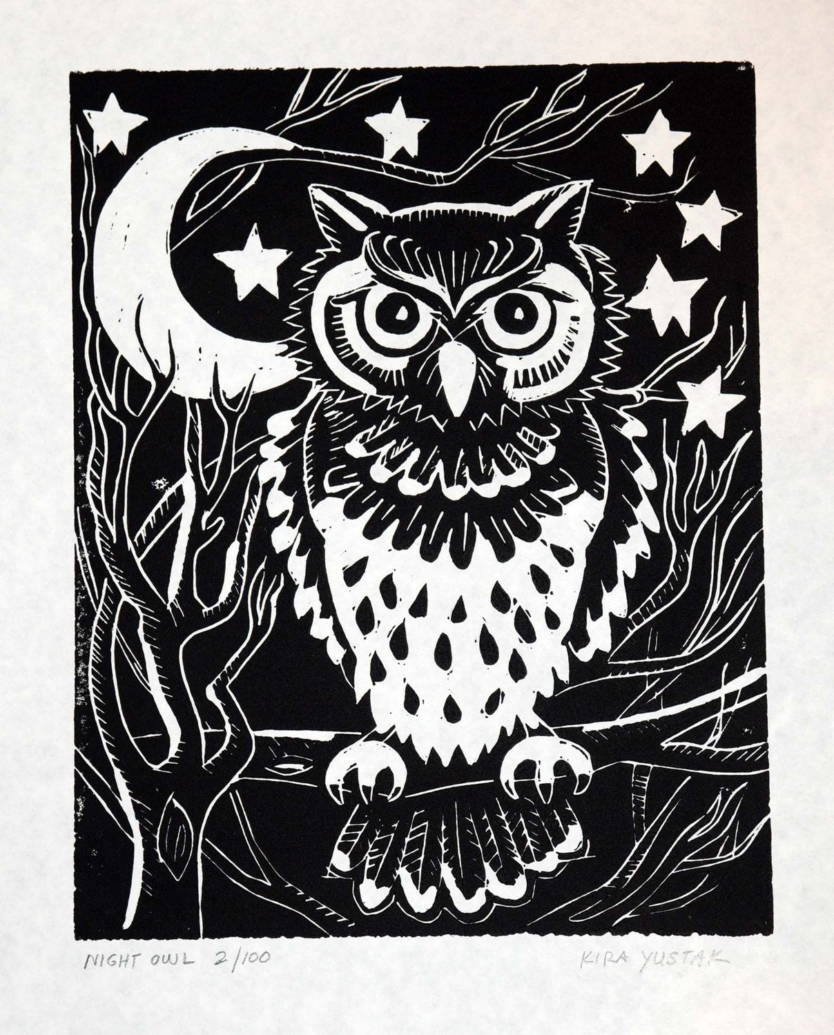 night owl linocut print. Black Bedroom Furniture Sets. Home Design Ideas