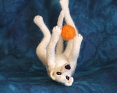 Custom Needle Felted Wippet or Greyhound in Play pose