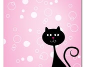 Pink kitty (set of 5 blank note cards with black envelopes)