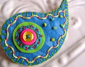 Embroidered Felt Brooch - Priscilla Paisley