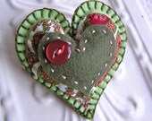 Embroidered Felt and Fabric Heart Pin Brooch - Patrice