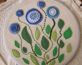 Embroidered Wall Art - Blue and Green Felt Flowers and Leaves on Linen