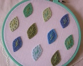 Embroidered Wall Art - Blue and Green Felt Leaves on Linen